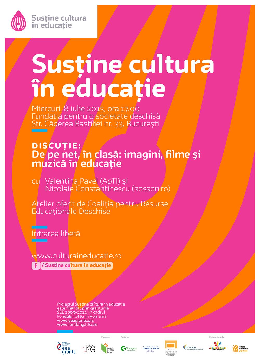 Întâlnire Cultura în educație:  De pe net, în clasă: imagini, filme și muzică în educație