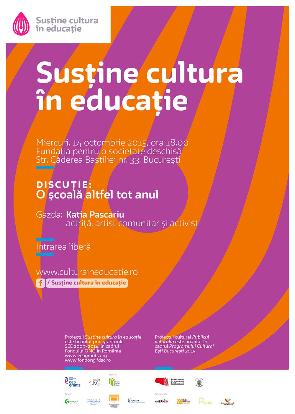 """Întâlnire """"Cultura în educație"""": O școală altfel tot anul"""