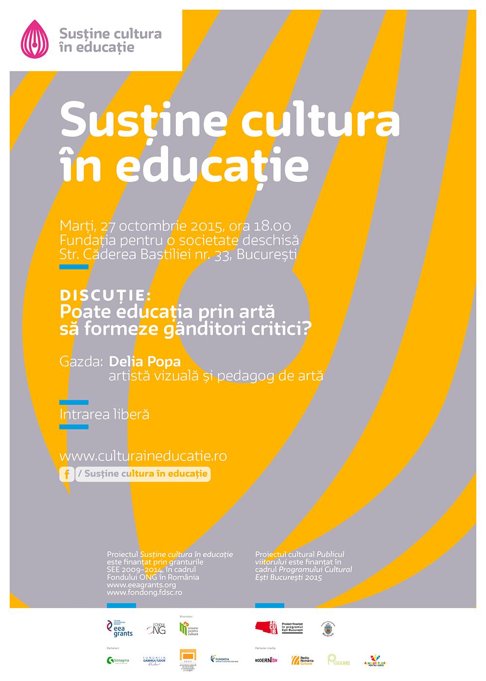 """Întâlnire """"Cultura în educație"""": Poate educația prin artă să formeze gânditori critici?"""