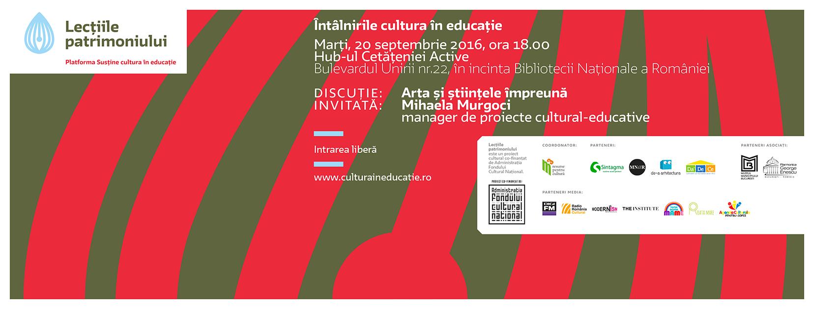 """Întâlnire """"Cultura în educație"""" : Arta și științele împreună"""