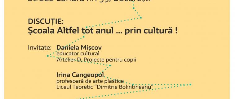Întâlnire Cultura în educație – Școala Altfel tot anul … prin cultură! 31.05.2017 | 18.00 | Muzeul Național al Hărților și Cărții Vechi, București