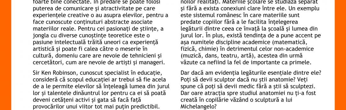 """Raportul întâlnirii """"Arta și științele împreună"""". Invitată: Mihaela Murgoci"""