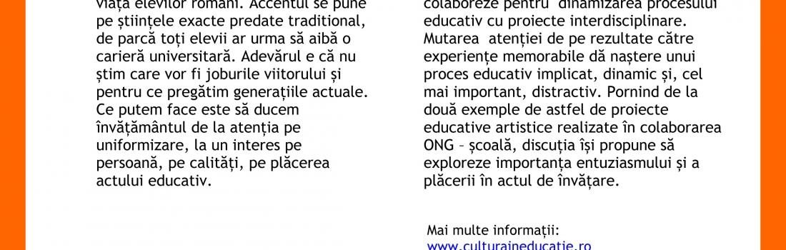 """Raportul întâlnirii """"Edutainment – despre cum arta poate revoluționa educația"""". Invitată: Irina Bălan"""