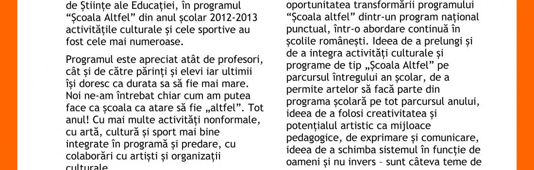 """Raportul întâlnirii """"O școală altfel tot anul"""". Invitată: Katia Pascariu"""