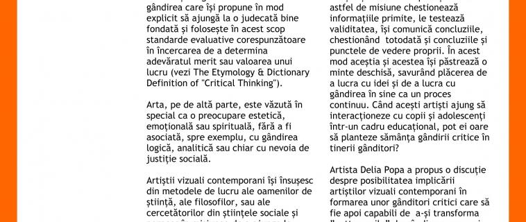 """Raportul întâlnirii """"Poate educația prin artă să formeze gânditori critici?"""". Invitat: Delia Popa"""