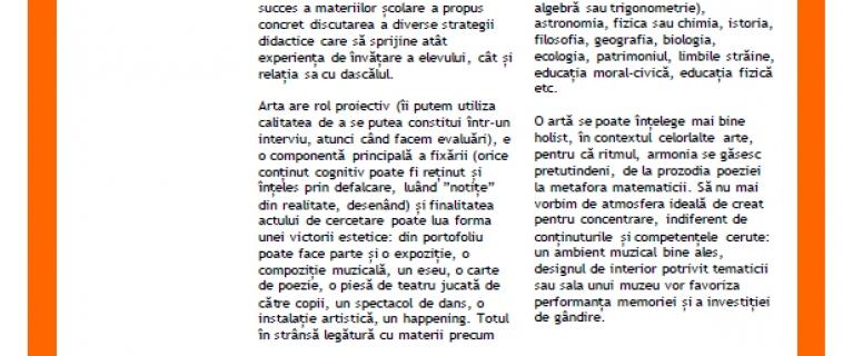 """Raportul întâlnirii """"Cum putem valorifica arta în a preda cu succes oricare altă materie școlară"""". Invitată: Cosmina Dragomir"""