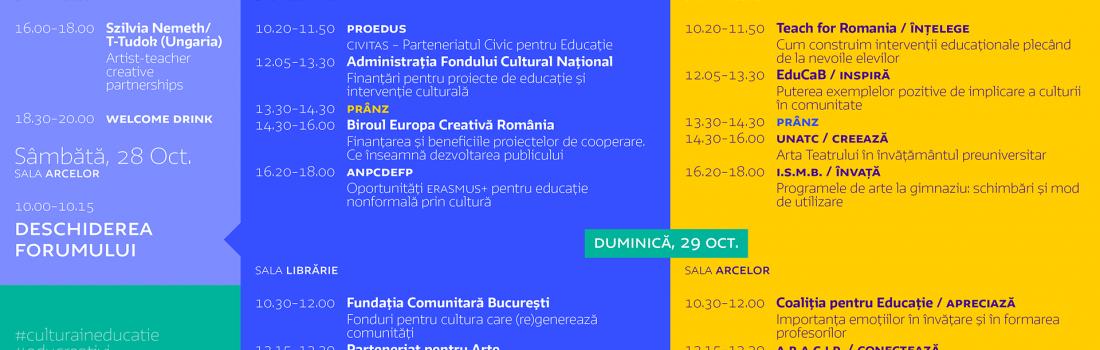 Forumul  Cultura în educație 2017 – start la înscrieri!