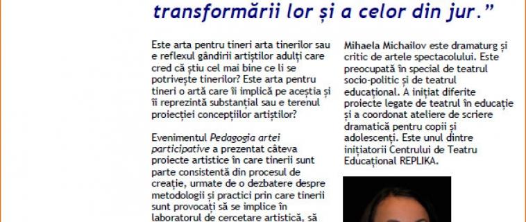 """Raportul întâlnirii """"Pedagogia artei participative"""". Invitată: Mihaela Michailov"""