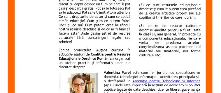 """Raportul întâlnirii """"De pe net, în clasă: imagini, filme și muzică în educație"""". Invitați: Valentina Pavel și Nicolaie Constantinescu"""