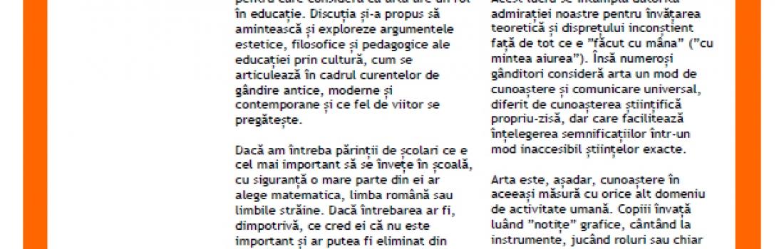 """Raportul întâlnirii """"Argumente pentru educația prin cultură"""". Invitată: Mădălina Gheorghe Tănase"""